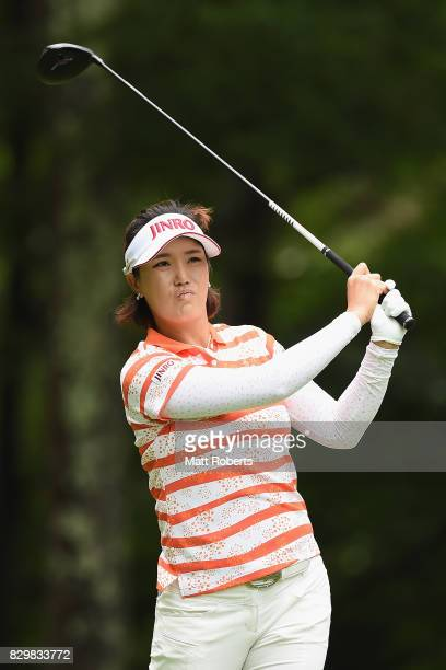 MiJeong Jeon of South Korea hits her tee shot on the 2nd hole during the first round of the NEC Karuizawa 72 Golf Tournament 2017 at the Karuizawa 72...