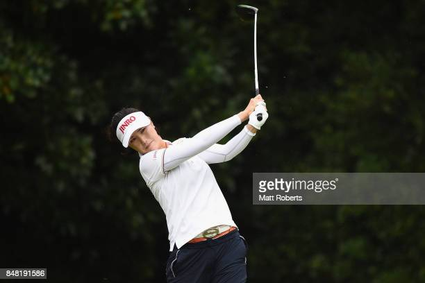 MiJeong Jeon of South Korea hits her tee shot on the 2nd hole during the final round of the Munsingwear Ladies Tokai Classic 2017 at the Shin Minami...