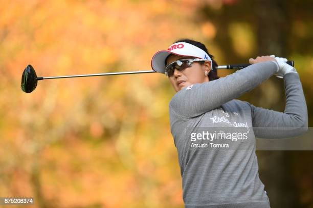 MiJeong Jeon of South Korea hits her tee shot on the 2nd hole during the second round of the Daio Paper Elleair Ladies Open 2017 at the Elleair Golf...