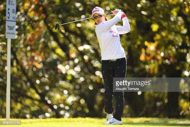MiJeong Jeon of South Korea hits her tee shot on the 5th hole during the final round of the Daio Paper Elleair Ladies Open 2017 at the Elleair Golf...