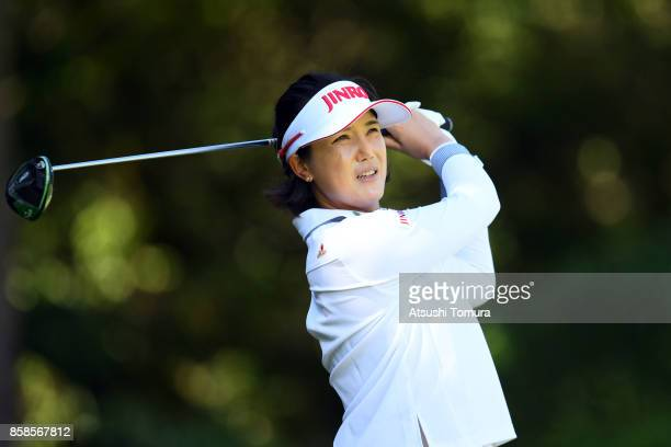 MiJeong Jeon of South Korea hits her tee shot on the 8th hole during the second round of Stanley Ladies Golf Tournament at the Tomei Country Club on...