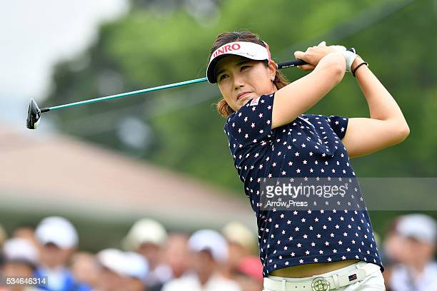 MiJeong Jeon of South Korea hits her tee shot on the the 1st hole during the first round of the Resorttrust Ladies at the Grandee Naruto Golf Club...