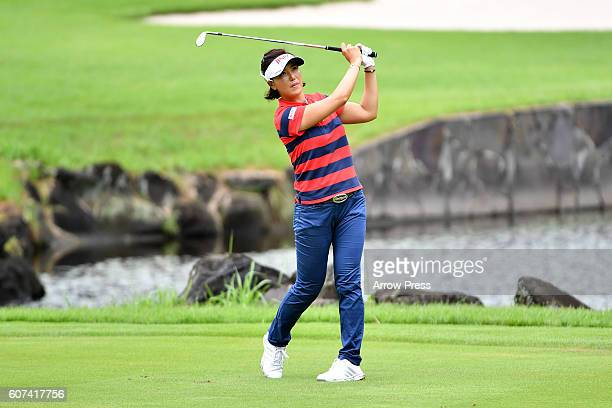 MiJeong Jeon of South Korea hits her third shot on the 15th hole during the Final round of the Munsingwear Ladies Tokai Classic 2016 at the Shin...