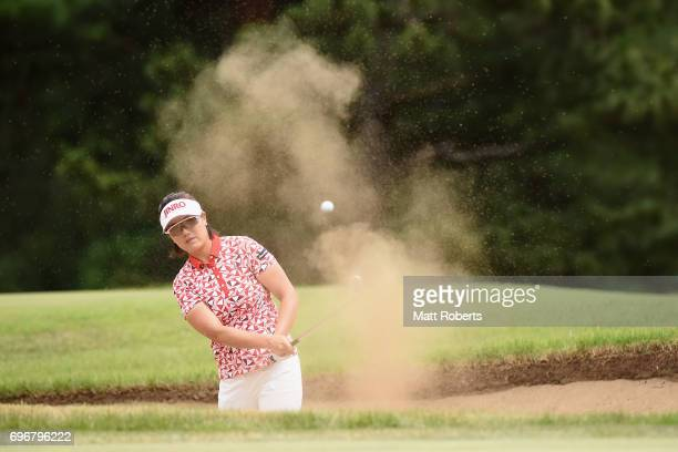 MiJeong Jeon of South Korea hits out of the 11th green bunker during the second round of the Nichirei Ladies at the on June 17 2017 in Chiba Japan