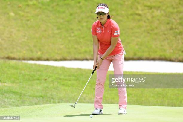MiJeong Jeon of South Korea lines up her putt on the 18th hole during the second round of the Resorttrust Ladies at the Oakmont Golf Club on May 27...