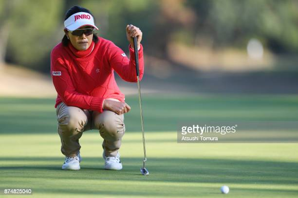 MiJeong Jeon of South Korea lines up her putt on the 9th hole during the first round of the Daio Paper Elleair Ladies Open 2017 at the Elleair Golf...