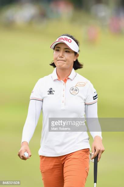 MiJeong Jeon of South Korea looks dejected on the 18th green during the final round of the Munsingwear Ladies Tokai Classic 2017 at the Shin Minami...