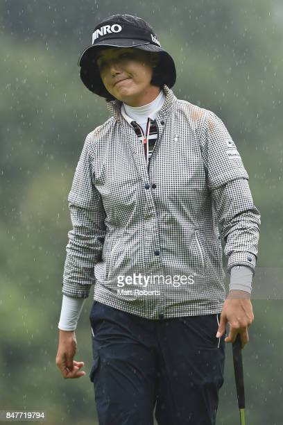 MiJeong Jeon of South Korea looks dejected on the 6th green during the second round of the Munsingwear Ladies Tokai Classic 2017 at the Shin Minami...