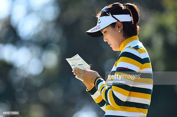 MiJeong Jeon of South Korea looks on during the first round of the TOTO Japan Classics 2015 at the Kintetsu Kashikojima Country Club on November 6...