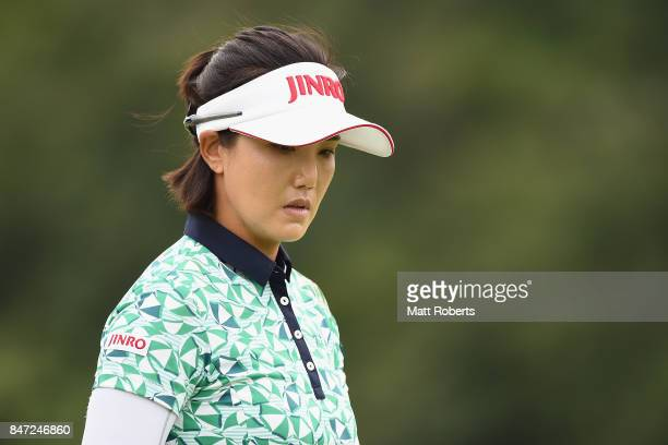 MiJeong Jeon of South Korea looks on during the first round of the Munsingwear Ladies Tokai Classic 2017 at the Shin Minami Aichi Country Club Mihama...