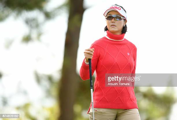 MiJeong Jeon of South Korea looks on during the first round of the Daio Paper Elleair Ladies Open 2017 at the Elleair Golf Club on November 16 2017...
