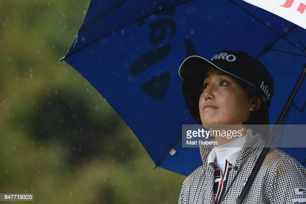 MiJeong Jeon of South Korea looks on during the second round of the Munsingwear Ladies Tokai Classic 2017 at the Shin Minami Aichi Country Club...