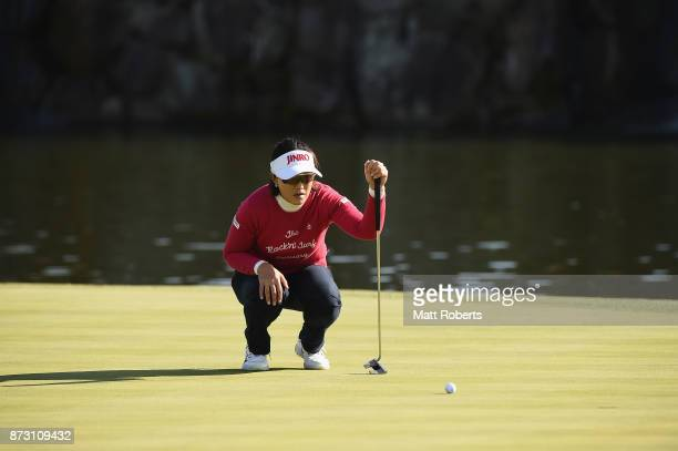 MiJeong Jeon of South Korea prepares to putt on the 18th green during the final round of the Itoen Ladies Golf Tournament 2017 at the Great Island...