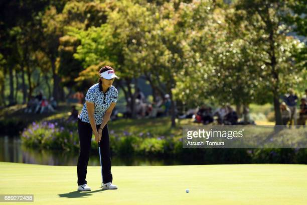 MiJeong Jeon of South Korea putts on the 18th hole during the final round of the Resorttrust Ladies at the Oakmont Golf Club on May 28 2017 in...