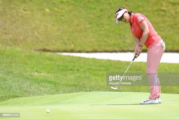 MiJeong Jeon of South Korea putts on the 18th hole during the second round of the Resorttrust Ladies at the Oakmont Golf Club on May 27 2017 in...