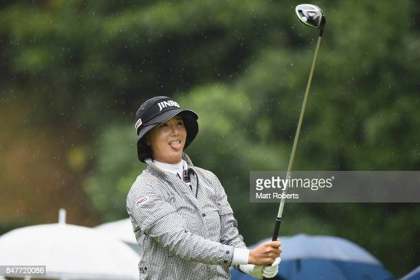 MiJeong Jeon of South Korea reacts after her tee shot on the 7th hole during the second round of the Munsingwear Ladies Tokai Classic 2017 at the...