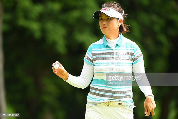 MiJeong Jeon of South Korea reacts during the first round of the CAT Ladies Golf Tournament HAKONE JAPAN 2016 at the Daihakone Country Club on August...