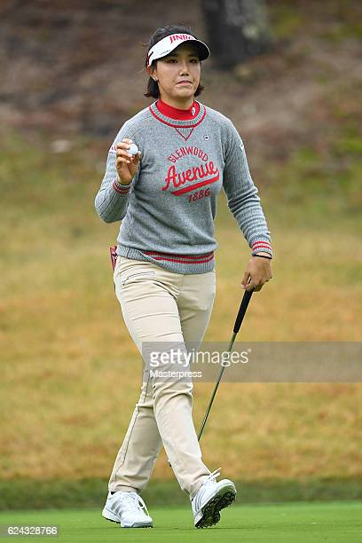 MiJeong Jeon of South Korea reacts during the third round of the Daio Paper Elleair Ladies Open 2016 at the Elleair Golf Club on November 19 2016 in...