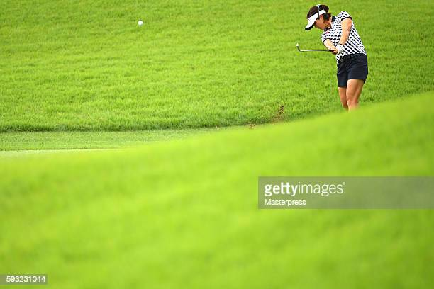 MiJeong Jeon of South Korea shots during the third round of the CAT Ladies Golf Tournament HAKONE JAPAN 2016 at the Daihakone Country Club on August...