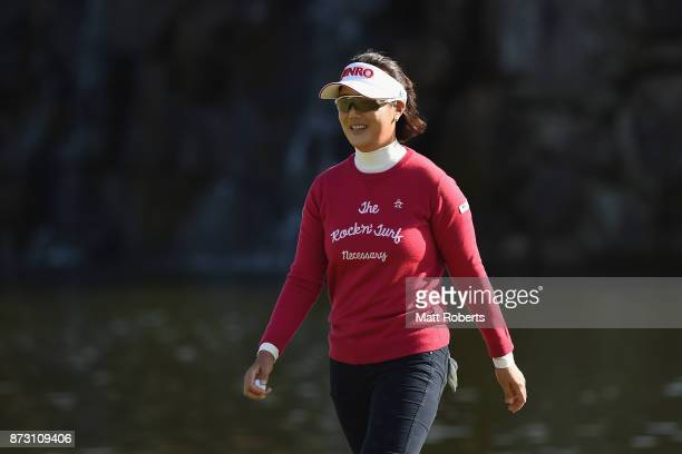 MiJeong Jeon of South Korea smiles after her putt on the 18th green during the final round of the Itoen Ladies Golf Tournament 2017 at the Great...