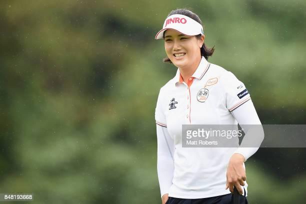 MiJeong Jeon of South Korea smiles during the final round of the Munsingwear Ladies Tokai Classic 2017 at the Shin Minami Aichi Country Club Mihama...