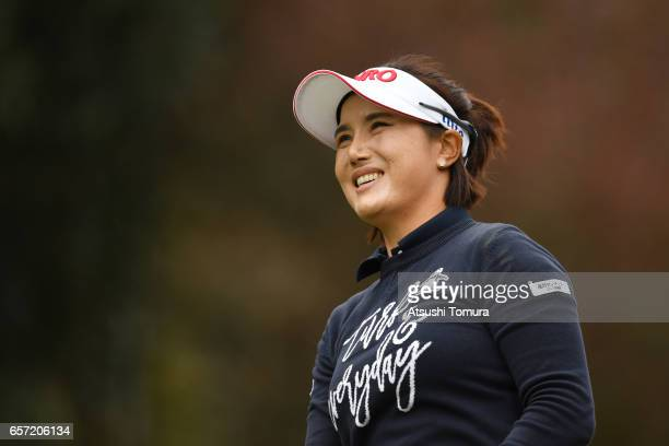 MiJeong Jeon of South Korea smiles during the first round of the AXA Ladies Golf Tournament at the UMK Country Club on March 24 2017 in Miyazaki Japan