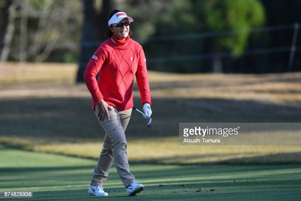 MiJeong Jeon of South Korea smiles during the first round of the Daio Paper Elleair Ladies Open 2017 at the Elleair Golf Club on November 16 2017 in...