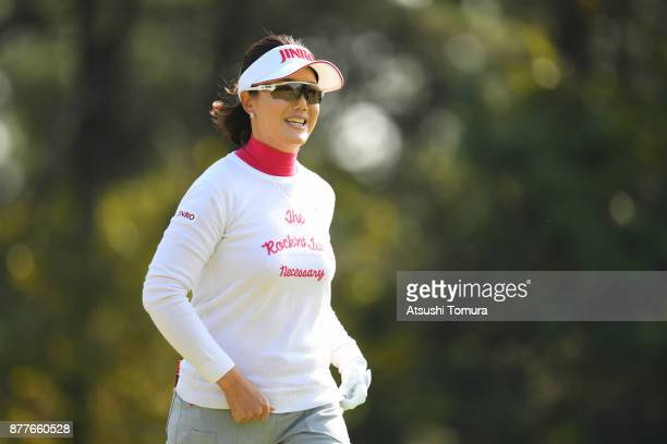 MiJeong Jeon of South Korea smiles during the first round of the LPGA Tour Championship Ricoh Cup 2017 at the Miyazaki Country Club on November 23...