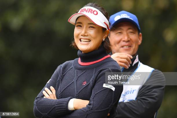 MiJeong Jeon of South Korea smiles during the third round of the Daio Paper Elleair Ladies Open 2017 at the Elleair Golf Club on November 18 2017 in...