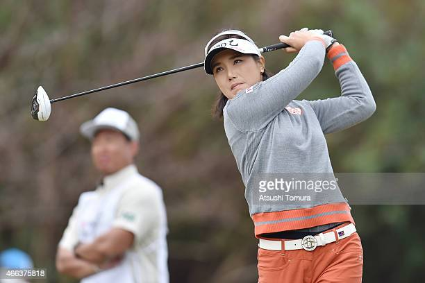 MiJeong Jeon of South Korea tees off on the 3rd hole during the final round of the Yokohama Tyre PRGR Ladies Cup at the Tosa Country Club on March 15...