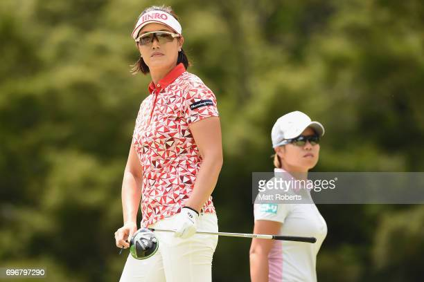 MiJeong Jeon of South Korea watches her tee shot on the 12th hole during the second round of the Nichirei Ladies at the on June 17 2017 in Chiba Japan