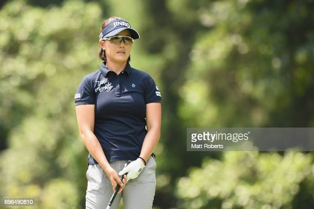 MiJeong Jeon of South Korea watches her tee shot on the 2nd hole during the first round of the Nichirei Ladies at the Sodegaura Country Club Shinsode...