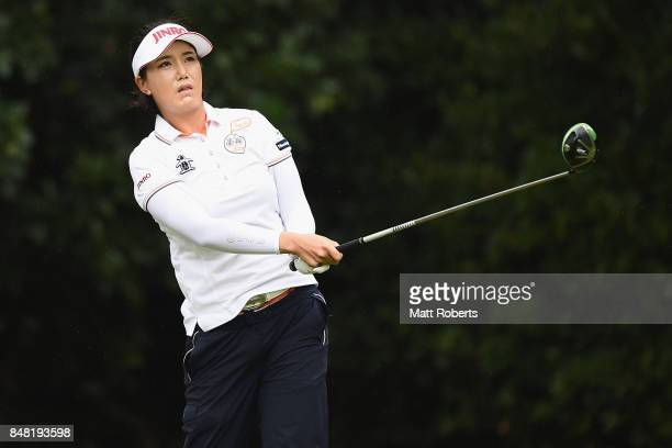 MiJeong Jeon of South Korea watches her tee shot on the 2nd hole during the final round of the Munsingwear Ladies Tokai Classic 2017 at the Shin...