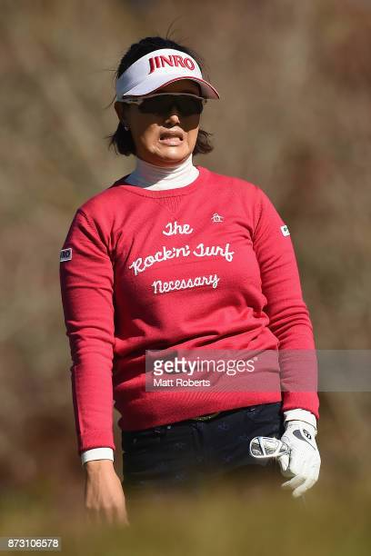 MiJeong Jeon of South Korea watches her tee shot on the 7th hole during the final round of the Itoen Ladies Golf Tournament 2017 at the Great Island...