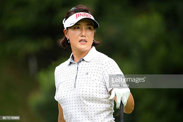 Mijeong Jeon of southkorea looks on during the second round of the Munsingwear Ladies Tokai Classic 2016 at the Shin Minami Aichi Country Club Mihama...