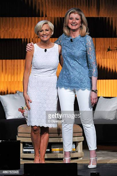 Mika Brzezinski and Arianna Huffington attend THRIVE A Third Metric Live Event at New York City Center on April 25 2014 in New York City