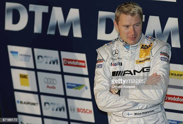 Mika Haekkinen of Mercedes looks on during the German Touring Car launch for the forthcoming DTM Championship Season on March 26 2006 in Dusseldorf...