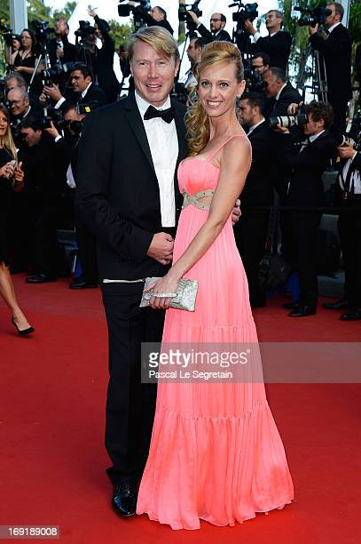 Mika Hakkinen and Marketa Kromatowa attend the 'Cleopatra' premiere during The 66th Annual Cannes Film Festival at The 60th Anniversary Theatre on...
