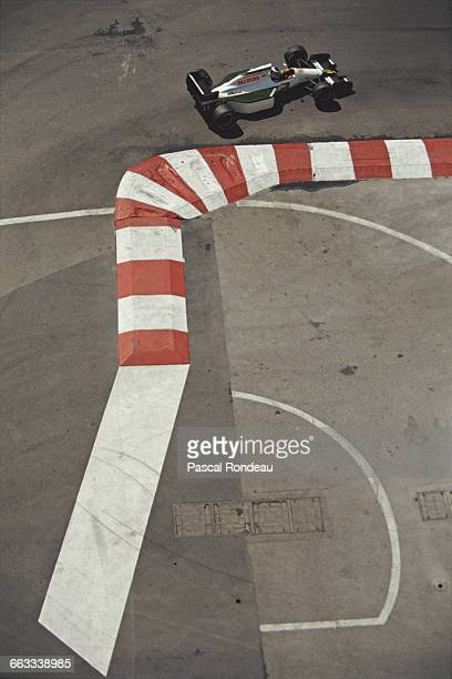 Mika Hakkinen of Finland drives the Team Lotus Lotus 102B Judd V8 during practice for the Grand Prix of Monaco on 11 May 1991 on the streets of the...
