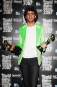 Mika holds his awards for World's Best Selling Pop Male Artist World's Best Selling Pop/Rock Male Artist and World's Best Selling New Artist at the...