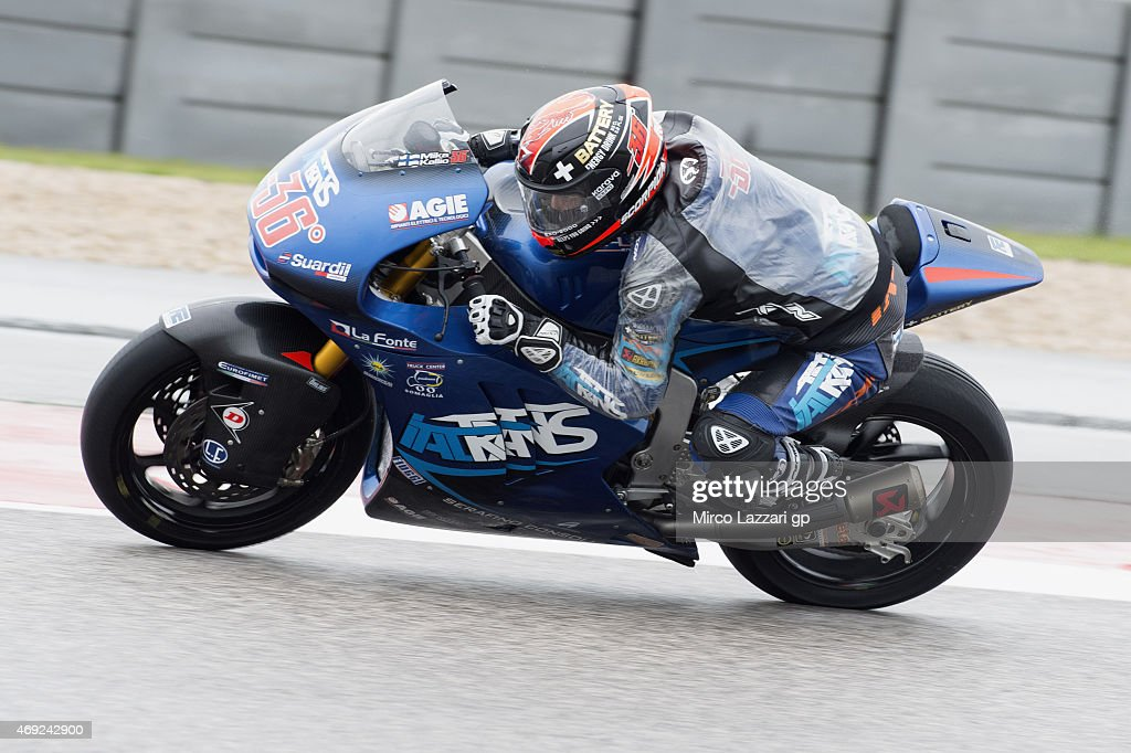 <a gi-track='captionPersonalityLinkClicked' href=/galleries/search?phrase=Mika+Kallio&family=editorial&specificpeople=543919 ng-click='$event.stopPropagation()'>Mika Kallio</a> of Finland and Italtrans Racing Team heads down a straight during the MotoGp Red Bull U.S. Grand Prix of The Americas - Free Practice at Circuit of The Americas on April 10, 2015 in Austin, Texas.