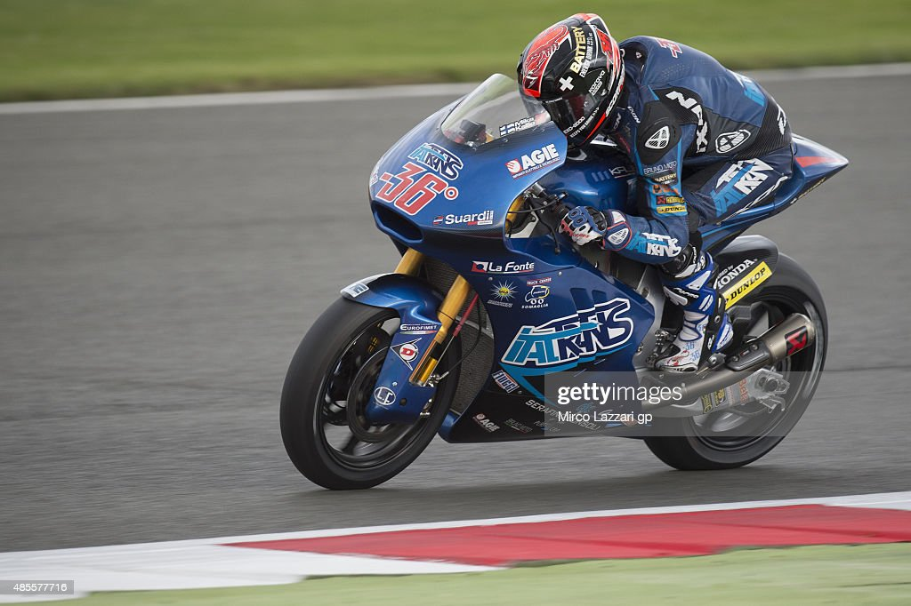 <a gi-track='captionPersonalityLinkClicked' href=/galleries/search?phrase=Mika+Kallio&family=editorial&specificpeople=543919 ng-click='$event.stopPropagation()'>Mika Kallio</a> of Finland and Italtrans Racing Team heads down a straight during the MotoGp Of Great Britain - Free Practice at Silverstone Circuit on August 28, 2015 in Northampton, United Kingdom.