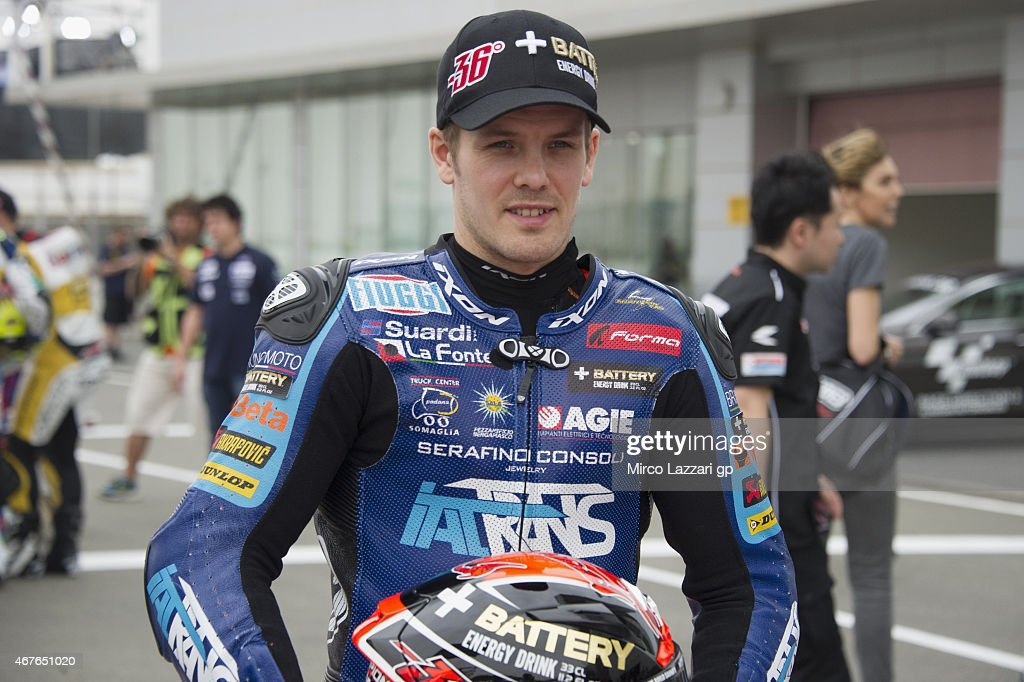 <a gi-track='captionPersonalityLinkClicked' href=/galleries/search?phrase=Mika+Kallio&family=editorial&specificpeople=543919 ng-click='$event.stopPropagation()'>Mika Kallio</a> of Finland and Italtrans Racing Team poses during the official photo of the Moto2 Riders during the MotoGp of Qatar - Free Practice at Losail Circuit on March 26, 2015 in Doha, Qatar.