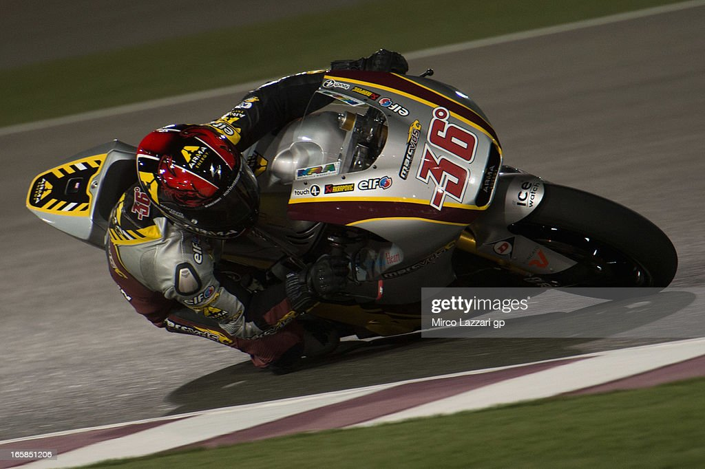 <a gi-track='captionPersonalityLinkClicked' href=/galleries/search?phrase=Mika+Kallio&family=editorial&specificpeople=543919 ng-click='$event.stopPropagation()'>Mika Kallio</a> of Finland and Marc VDS Racing Team rounds the bend during the MotoGp of Qatar - Qualifying at Losail Circuit on April 6, 2013 in Doha, Qatar.