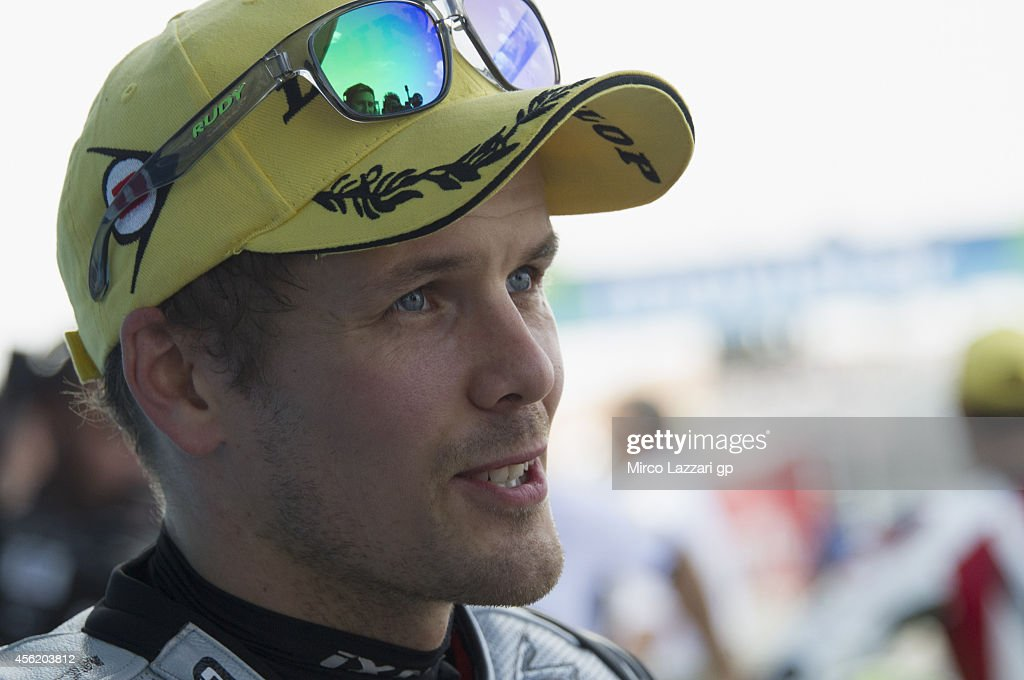 <a gi-track='captionPersonalityLinkClicked' href=/galleries/search?phrase=Mika+Kallio&family=editorial&specificpeople=543919 ng-click='$event.stopPropagation()'>Mika Kallio</a> of Finland and Marc VDS Racing Team smiles at the end of the qualifying practice during the MotoGP of Spain Qualifying Practice at Motorland Aragon Circuit on September 27, 2014 in Alcaniz, Spain.
