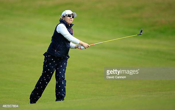 Mika Miyazato hits her 2nd shot on the 17th hole during the First Round of the Ricoh Women's British Open at Turnberry Golf Club on July 30 2015 in...