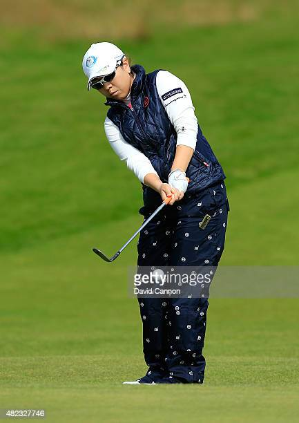 Mika Miyazato hits her 3rd shot on the 17th hole during the First Round of the Ricoh Women's British Open at Turnberry Golf Club on July 30 2015 in...