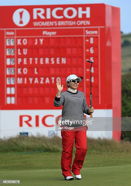 Mika Miyazato of Japan celebrates a birdie on the 12th green during the Third Round of the Ricoh Women's British Open at Turnberry Golf Club on...