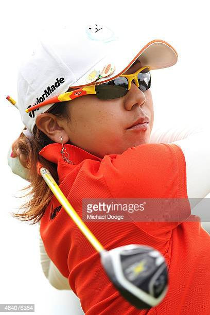 Mika Miyazato of Japan hits a tee shot on the 2nd hole during day four of the LPGA Australian Open at Royal Melbourne Golf Course on February 22 2015...
