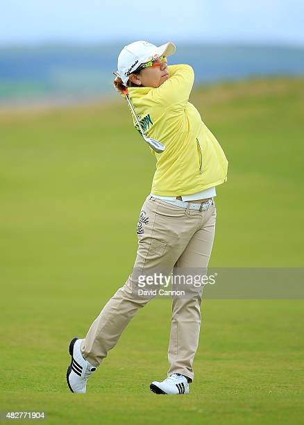 Mika Miyazato of Japan hits her 2nd shot on the 8th hole during the Final Round of the Ricoh Women's British Open at Turnberry Golf Club on August 2...